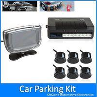 Waterproof Beep Alert Car Rear View Parking Radar System Kit With LCD Display Monitor + 6 Sensors For Reverse Backup