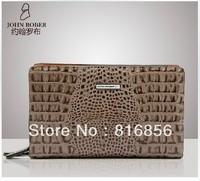 2013 New fashion male zipper wallet 100% genuine leather men's clutch bag handbag crocodile leather wallet for men Free Shipping