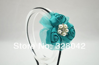 Free shipping Girl Boutique triple satin rosettes flower hairband party mesh flower Sparkling Pearl centre headbands 100pcs/lot