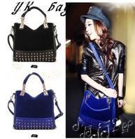 Free shipping New lady bag rivet package stitching flannel female bag shoulder bag brand fashion handbag Women clutch handbag