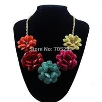 New Women Jewelry Bib Chunky Teardrop Flower Statement Fashion Necklace Free Shipping