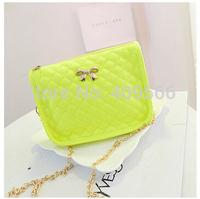 Small 2014 Women's Shoulder Handbag Plaid Chain Mini Bag Bow Summer Tote Fashion Messange Bags High Quality Free Shipping