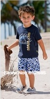 Whole Sales 5pcs/Lot new style little boys sets/short sleeve T-shirt +pants/casual beach suit