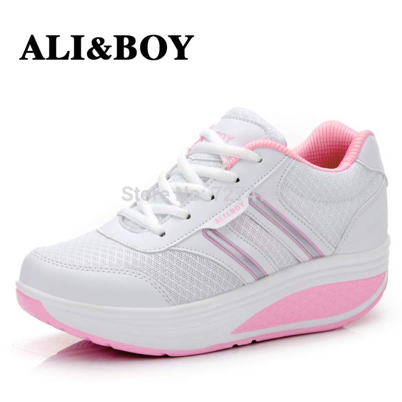 Summer Cool Fashion Soft Mesh Upper Women Fitness Shoes Swing Design Lose Weight Lady Single genuine leather Shoes Free Shipping(China (Mainland))