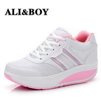 Summer Cool Fashion Soft Mesh Upper Women Fitness Shoes Swing Design Lose Weight Lady Single genuine leather Flat