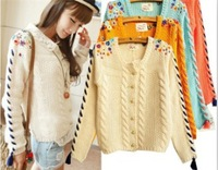 Free shipping 2013 New fashion Women's Cardigans Coat Sweater Knitting Machine Hand-embroidered Flowers Embroidered Sweater Coat