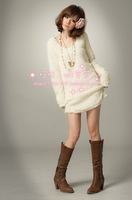 Autumn and winter women thin rabbit fur sweater dress long plush design sweater slim knitted basic shirt