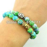 8mm Natural Rain Flower Stone Beads Silver or Gold Metal Bouddha Buddha Bracelet (5 pieces/lot)
