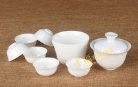FREE tea towel+filter+tweezer!!! 8pcs Chinese DEHUA porcelain tea set, travel porcelain teaset, exquisite kungfu tea set