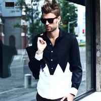 viishow2013 new personalized black and white stitching men's British style fashion casual long-sleeved shirt shirt men