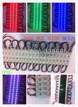 led waterproof module  Super bright   5050 3leds RGB    0.72w   DC12V   IP45    100PCS/lot   Free shipping