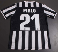 Juventus Soccer Jersey, 13/14 Best Thai Quality Juventus Home Black White 21# PIRLO Soccer Football Jersey, Uefa Patch,