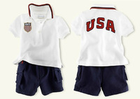 Summer Baby Wear Polo t shirt + Shorts Kids Clothes Sets New 2015 Baby Boy Clothes USA letter sport suit Baby Clothing Tracksuit