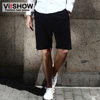 viishow minimalist men shorts casual pants Slim-type male European style wild cotton solid color   summer  black blue khaki