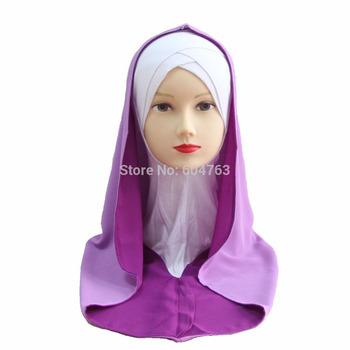 JN011 Fashion chiffon arabic hejab ONE PIECE LONG muslim HIJAB
