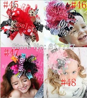 fashion 5-6 inch girls hair bow with feather grosgrain baby hair clips hair bows satin baby hairbows AA1