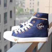 NEW !! Fashion canvas   female fashion high women's shoes cotton-made  casual  kilen sport shoes