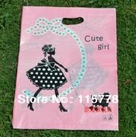 20*25cm, pink Gift bag. cute girl plastic black bags garment bag