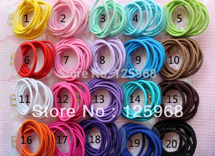 Free Shipping,2014 New Wholesale 100pcs/lot 20 Colors Baby Girl Kids Tiny Hair Accessary Hair Bands Elastic Ties Ponytail Holder(China (Mainland))