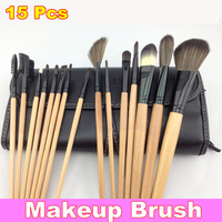 15Pcs Pro Woman Travel Makeup Cosmetic Brushes Set Tool Pouch Case Bag Kit + Free Shipping