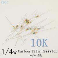 1/4w 10k ohm +/- 5% Carbon Film Resistor / 0.25W 10K Color Ring Resistance (200pcs/lot)