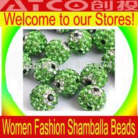 Wholesale New shamballa Green evil eye beads, Free Shipping shambala 500pcs/lot Evil Eye  Round Clay Beads 10mm
