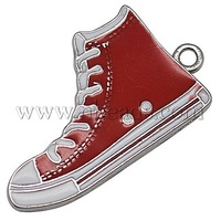 promo beads Alloy Enamel Pendants,  Lead Free and Cadmium Free,  Shoes,  Red,  Size: about 30mm long,  17mm wide,  2mm thick