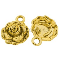 promo beads Tibetan Silver Pendant,  Rose Flower,  Lead Free,  Cadmium Free and Nickel Free,  Antique Golden