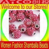 Wholesale Free shipping 1000pcs/lot,Fashion 10mm Evil Eye Rhinestone Pave Disco ball Shamballa Crystal Beads for Bracelet