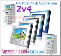 PASSWORD and ID CARD color video door phone/video intercom systems/door bells(2 outdoor cameras +4 indoor monitors)