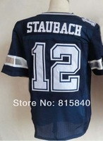 Wholesale Free Shipping #12 Roger Staubach Men's Elite Jersey,American Football Jersey,Embroidery and Sewing logos,Size M--3XL