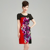 new fashion high Quality 2013 short-sleeve o-neck a-line print fancy women's silk dresses 0258001319