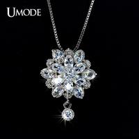 UMODE Princess Flower Marquise Cut CZ Pendant Jewelry Necklace UN0013
