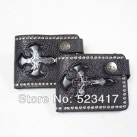 Fashion halloween cross matted genuie leather rock purse Cool unisex punk hippop gothic wallets wholesale stylish skull wallets