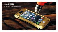 Original LOVE MEI Small Waist Powerful life Waterproof proof Metal Aluminum Case For iphone 4 4S + MOQ:1pcs/lot Free Shipping