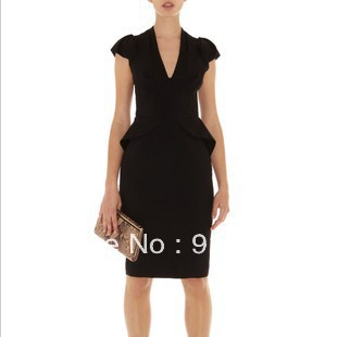 2013 new European and American star models Slim T station deep V-neck lady's dress free shipping(China (Mainland))