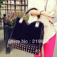 new 2013 rivet package stitching flannel bag shoulder bag brand fashion handbag Free Shipping Rivet Studded women messenger bag