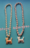 Free shipping/fashion 80mm pearl +glass  bead necklace/ Resin cat necklace/necklace & Bracelet Set /baby Children Jewelry Set