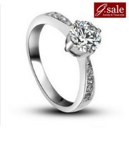 GS brand JZ-2 2013  vintage style shiny swiss gem 925 sterling silver & platinum plated female finger rings jewelry wholesale