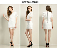 2013 summer fashion sexy women's ladies' girl's slim one-piece dress Lace haollow skirt suit dresses White