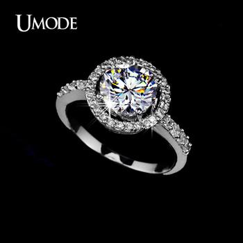UMODE Hearts & Arrows Ideal cut Swiss Cubic Zirconia Diamond Halo Engagement Ring UR0012