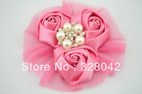 2013 top girl satin rosettes flower head silk rose mesh with Brilliant Pearl flower lovely wedding hair accessories 36pcs/lot