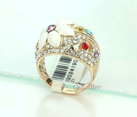 Italina Rigant fashion jewelry wholesale, Min.order 2 pcs, Free Shipping 18K Real Gold Plated Crystal Rings Fashion Ring