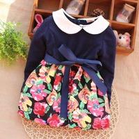 Free shipping 2014 New Spring Autumn Baby Girls Dress Flower Kids Infants Dress A243