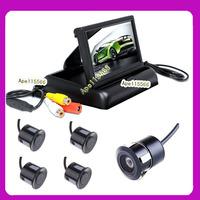 4.3 INCH Parking sensor system  LCD Foldable monitor+back up ccd hd camera parking guide line+4 Sensors Parking sensor
