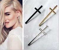 24pairs Free Shipping wholesale Fashion Big Cross Earring Punk Ear Nail Stud Western Style punk