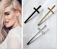 24pairs Free Shipping wholesale Fashion Big Cross Earring Punk Ear Nail Stud Western Style punk