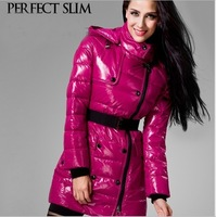 EMS Free Shipping High Quality Ladies'  Winter Slim Down Jacket Luxury Jaqueta Medium-long women's Glossy Down Coat with Belt