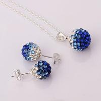 New 2015 925 silver 10mm gradual color blue Crystal ball Pendant Necklace Earrings women Jewelry Set Rhinestones Shambala Sets