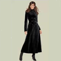 FREE SHIPPING 2014 New Fashion Double-breasted Turn Down Collar Women's Coats Winter Solid Color Warm Long Wool X-long Coat C106